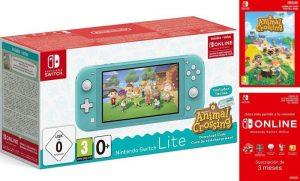 Switch Lite Turquesa + Animal Crossing + 3 Meses Nintendo Online