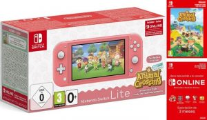 Switch Lite Coral + Animal Crossing + 3 Meses Nintendo Online