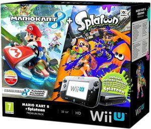 Wii U Consola Negra 32GB + Mario Kart y Splatoon Preinstalado